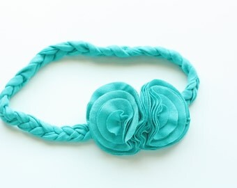 Braided Jersey Knit Flower Headband - Bright Aqua or Customize Your Colors