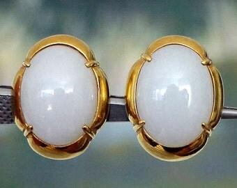 1960s GUMP'S San Francisco Vintage Estate 18K Gold White Lavender JADEITE Jade Earring Clips