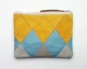 FREE SHIPPING // Patchwork Zip Clutch // golden honey suede with light blue and grey leather