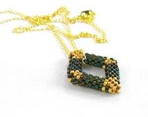 Beaded Rhombus Necklace, Dainty Geometric Necklace, Iridescent Bead Jewelry, Open Diamond Shape, Beadwoven Diamond Peyote - Made in Germany