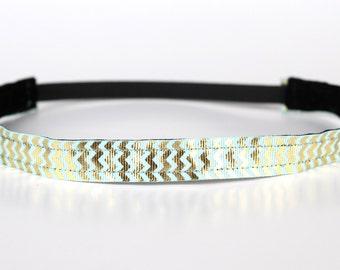 "Gold and Mint Chevron Shine NonSlip Headband 3/4"", Non-Slip Headband, Workout Headband, Gold Foil, Dance, Running, 5k, Exercise"