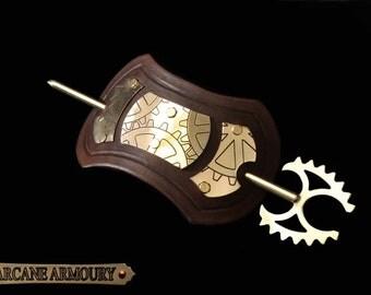 Steampunk Hair Barrette BROWN leather & Brass Fantasy Gothic Emo