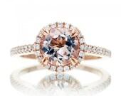 14 Karat Rose Gold 7mm Round Morganite Diamond Halo Solitaire Engagement Anniversary Ring