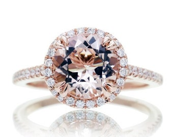 14 Karat Rose Gold 8mm Round Morganite Diamond Halo Solitaire Engagement Anniversary Ring