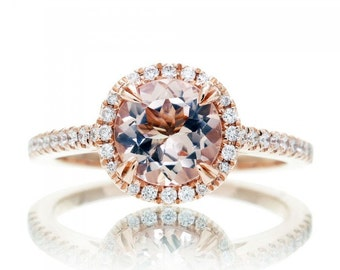 14 Karat Rose Gold 7mm Round Morganite Diamond Halo Solitaire Engagement Anniversary Ring