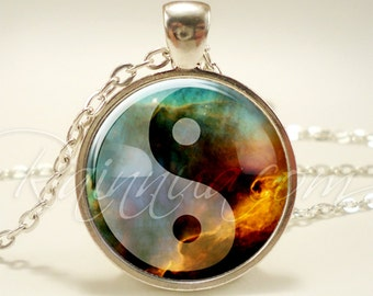Yin Yang Galaxy Necklace, Soft Grunge Nebula Pendant, Cosmic Hipster Jewelry (1995S1IN)