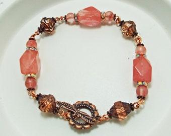Cherry Quartz Copper Czech Glass Turbine Bracelet