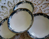 Noritake Bone China Coupe Soup bowls Sandhurst Like New with Heavy gold trim Set of 4 included