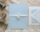 Hand penned White Ink invitation with Envelopes