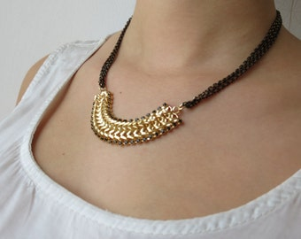 Black necklace, gold and black necklace, gold chain necklace, 24k chain necklace, black chain necklace, black jewelry, 14k gold necklace
