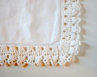 Vintage Linen Hankie White 1940s Crocheted Edge Wedding Hankie Gift under 15