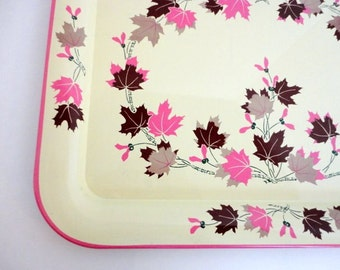 Vintage Oak Leaf Metal Tray ONE Pink Brown cream 1960's Cottage shabby chic TV tray Lap tray