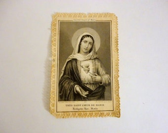 Vintage French Prayer Card Antique Holy card Paper lace Sacred Heart of Mary from Metrocottage