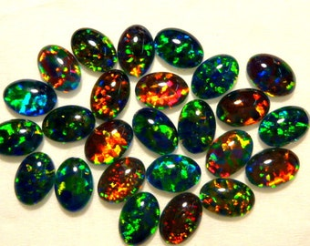 Synthetic Loose Triplet Opal Stones Parcel lot of 7x5mm Oval 25 pieces. item 80091.