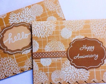 Hand made cards: Kraft card stock - white embossed - flowers - Hello - Anniversary - hand stamped - Wcards