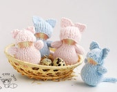 Waldorf Easter Cat Babies - pdf knitting patterns. Easter Ornament. Spring ornament.