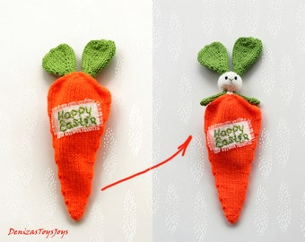 Happy Easter. Easter Bunny in а carrot cozy -  knitting pattern (knitted in the round)