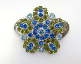 Vintage 1970's Silver Blue and Green Floral Rhinestone Cluster Pin
