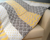 """Baby Play Mat Padded Floor Blanket Personalize Yellow Gray Chevron Dots Modern Quilt Tummy Time Newborn Gift Baby Shower Nap Mat 35"""" x 35"""""""