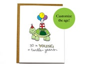 Funny turtle birthday card - custom, personalized