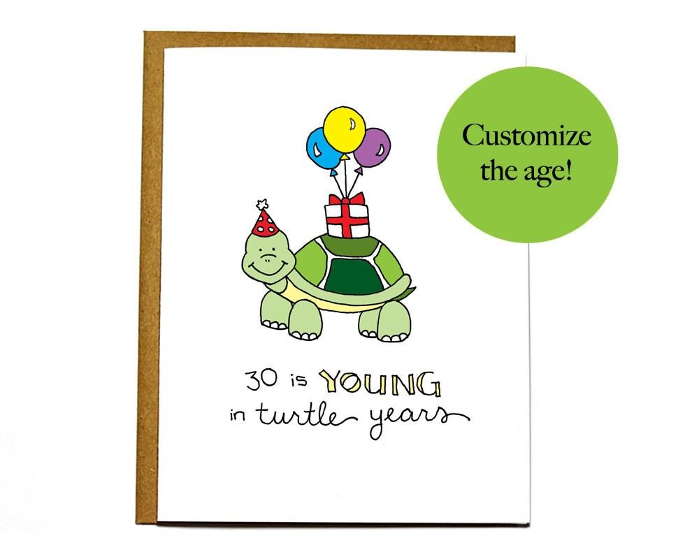 funny turtle birthday card custom personalized