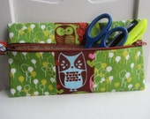 Zippered Pouch in Woodland Owls