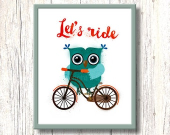 Cycling Owl typography nursery art. Printable illustration for kids. Let's ride. Wall decor stencil cartoon character. Green orange bicycle