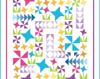 Twin Size Quilt Kit. You Grow Girl! Modern, bright, lively Fun, Pink, Turquoise, lime green, purple, yellow