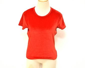 90s The Limited Red Velvet T-shirt Women's Size Medium
