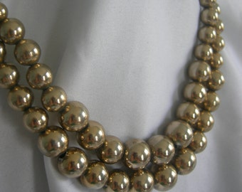 2 Strand Gold Tone Beaded Necklace | Signed MONET | Vintage 1950s-!1960s