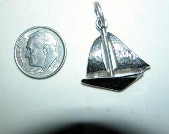 Sterling Sailboat Boat Charm Wonderful 3D Sterling Silver Figural Sailboat Charm Pendant for Charm Bracelet or Necklace