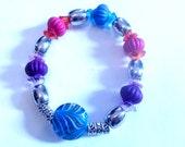 Flower bead stretch bracelet,  Purple, blue, pink, silver beaded jewelry, stretch jewelry, Spring jewelry, Easter, purple jewelry