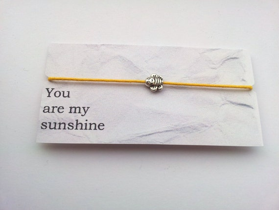 You are my Sunshine Friendship bracelet on waxed cotton cord