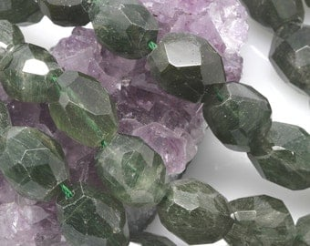 Lot of 2 Strand Green Phantom Quartz Nugget Beads Faceted Approx. 25 beads/15 in. strand (BH5631)