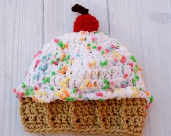 Newborn Baby Hat, Crochet Baby Cupcake Hat, Baby Prop Hat