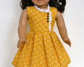 WWII Era 1950's American Girl 18 Inch Doll Dress Ruthie Kit Molly - Mustard Yellow