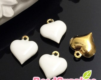 CH-EX-02110W,  Gold plated,Puffy heart charm,  white,4 pcs
