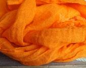100% Linen Scarf, Many Color, Eco Scarf, ORANGE Women, Men Accessories