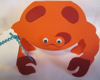Paper Crab Ocean Sea Favor Tags, Place Cards, Decorations, Name Cards, Table Tents, Invitations, Baby Shower Place Cards, Escort Card - 12