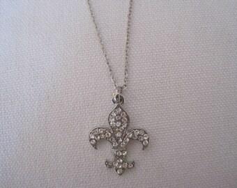 Silver Fleur De Lis Necklace - Fleur De Lis Necklace - Rhinestone Fleur De Lis Jewelry - French Jewelry