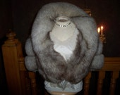 RESERVED for a buyer - vintage 70s silver fox fur stole, nice & fluffy!