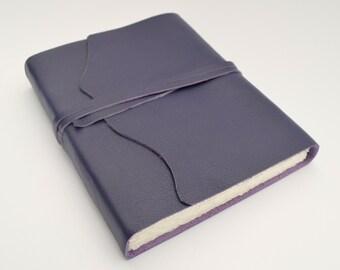 Purple Leather Bound Watercolor Journal Custom Handmade to Order Art Notebook Purple Diary (419B)