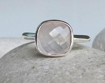 Rose Quartz Ring- Pink Gemstone Ring- Pink Stone Ring- October Birthstone Ring- Topaz Ring- Promise Ring- Square Ring- Pink Ring- Stack Ring