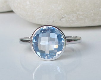Round Blue Topaz Ring- Blue Stackable Ring- December Birthstone Ring- Blue Gemstone Ring- Simple Blue Ring- Sterling Silver Ring