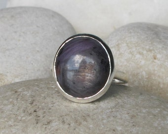 Gray Sapphire Ring- Simple Engagement Ring- September Birthstone Ring- Unique Statement Ring- Oval Anniversary Ring- Unisex Mens Ring