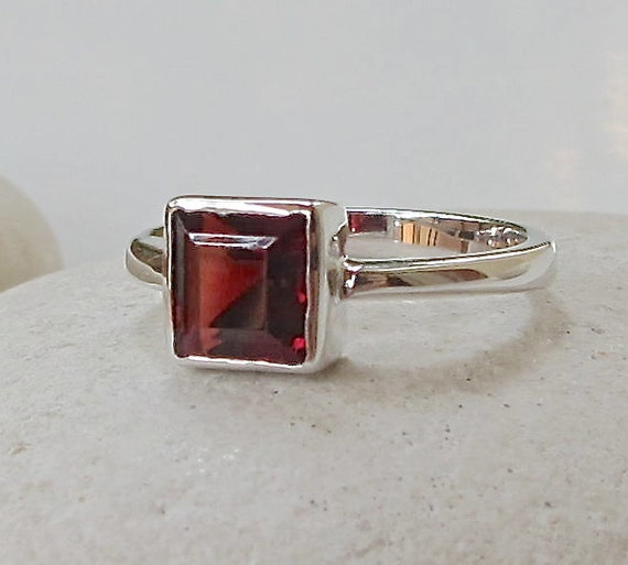 tiny square garnet ring stackable ring promise ring by belesas. Black Bedroom Furniture Sets. Home Design Ideas
