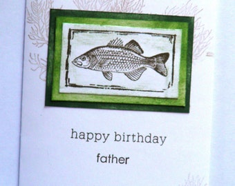 Happy Birthday Dad, Fish, Happy Birthday Father, Man's Birthday, Masculine Birthday, Fathers Birthday, Card for Dad, Card for Man, Outdoors