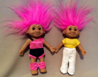 Vintage Exercising Troll Dolls with Pink Hair in their Exercise or Jogging Outfits, Outfits have Velcro Closures