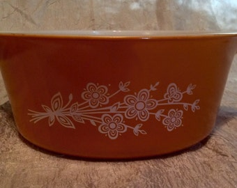 Vintage Pyrex Corning Gold Orange Butterfly Cinderella 2.5L Casserole Dish Mixing Bowl