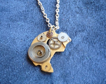 Steampunk Necklace- handmade- real clock gears cosplay costume scifi metal punk